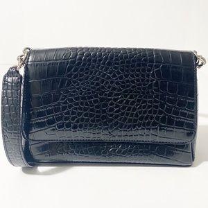 Liz Claiborne Black Crocodile Embossed Handbag